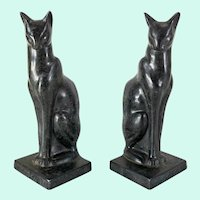 Art Deco Egyptian Revival Frankart Style Cat Bookends