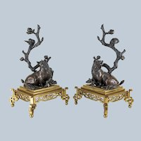 Japanese Bronze Okimonos of Foxes and Birds