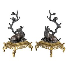 Japanese Bronze Okimonos of Foxes and Birds
