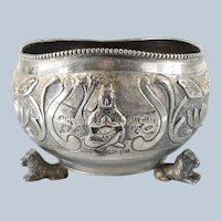 South East Asian or Tibetan Repousse Buddhist and Lotus Bowl