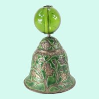 Chinese Peking Glass Mandarin Court Finial Silver Plate and Enamel Bell