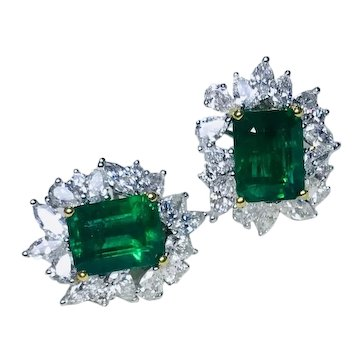 Classic Gem Quality Emeralds 8.22 carats & Diamonds 4.11 carat 18K Gold Earrings