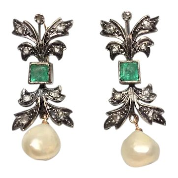 Antique Certified Natural Pearl Earring Drops Emerald and Diamonds