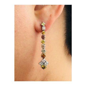 Fancy Coloured Diamonds and Platinum Dangle Earrings