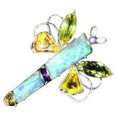 18-carats Natural Australian Black Opals With Precious Gems Dragonfly Pin-Pendant