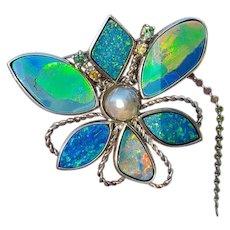 Unique Australian Black Opal Le Papillon-Brooch/Pendant
