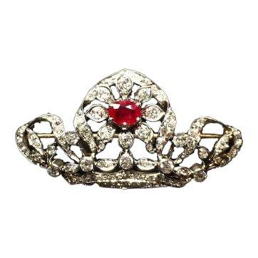 Belle Époque Ruby and Diamond Brooch Platinum & 18K Gold circa 1905
