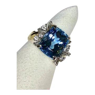 10 Carat Rare Natural Santa Maria Aquamarine and Diamond 18k Yellow and White Gold Vintage Ring