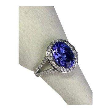 4.02 carat Tanzanite Diamonds in 18K White Gold Halo Ring