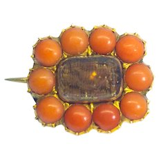 Antique Georgian Red Coral 15ct Gold Mourning Hair Brooch c.1820