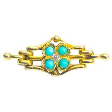 Antique Victorian 18ct Gold Old European Cut Diamond & Turquoise Gate Brooch c.1890