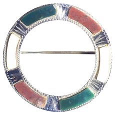 Antique Scottish Hardstone Pebble 925 Sterling Silver Circle Brooch