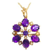 Antique Victorian Natural Amethyst & Seed Pearl Pendant Necklace & Brooch 9ct Gold c.1900