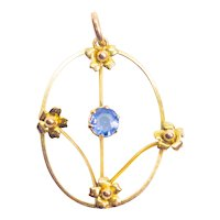 Antique Victorian Blue Paste Stone 9ct Gold Floral Pendant c.1900