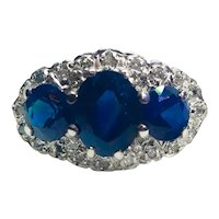 Antique Edwardian 1.46cts Royal Blue Sapphire & Diamond 18ct Gold Trilogy Ring c.1910
