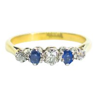 Antique Edwardian Cornflower Blue Sapphire & Diamond 18ct Gold 5 Stone Ring c.1910