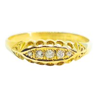 Antique 1908 Edwardian Chester Old Cut Diamond 18ct Gold 5 Stone Boat Ring