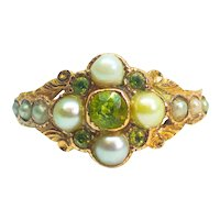 Antique Georgian Peridot & Seed Pearl 15ct Rose Gold Ring c.1810
