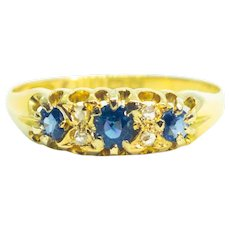 Antique Edwardian Cornflower Blue Sapphire & Diamond 18ct Gold Trilogy Ring 1909