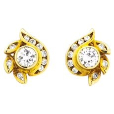 Vintage 1ct of Diamonds Mid-Century Style Floral 14ct Gold Stud Earrings