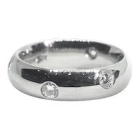 Heavy Platinum 0.32ct Diamond Full Eternity Rub Over Set Band Ring