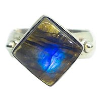 Vintage Labradorite Square Cabochon 925 Sterling Silver Ring