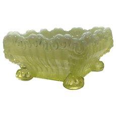 North wood Alaska Yellow Vaseline Glass Footed Bowl