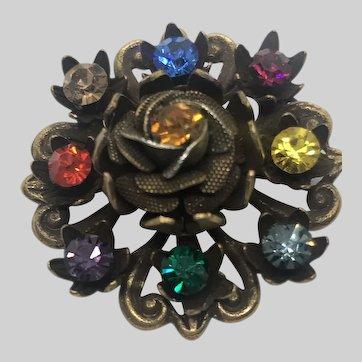Vintage Coro Signed Floral Rhinestone Brooch Pin