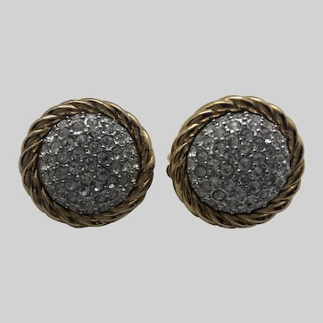 Vintage Swarovski Crystal & Gold-tone Clip-on Earrings