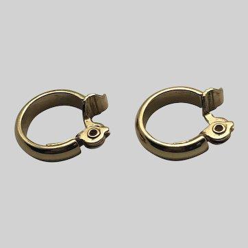 Vintage Monet Gold Tone Clip-on Hoop Earrings