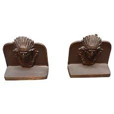 Indian Head Bronze Bookends