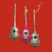 Set of 3 genuine Vintage German Victorian CELLO ornaments