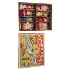 RARE Complete set of  8 Vintage Mother Goose Figural Bulbs