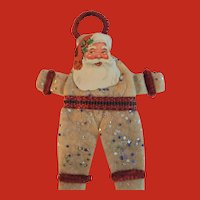Vintage American Pressed cotton SANTA Christmas ORNAMENT