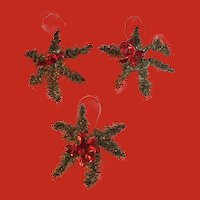 Set of 3 Vintage German  six point star tinsel Christmas ornaments