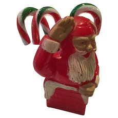 Vintage hard plastic  candy container-- Santa coming out of chimney