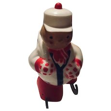 Vintage Rosbro Plastic Skating boy Christmas candy Container