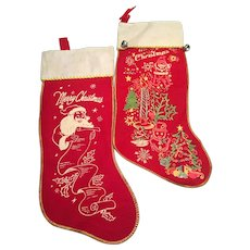 Set of  2 Vintage Christmas stenciled stockings