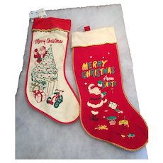 Set of 2 vintage Christmas Stockings