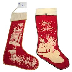 Set of two vintage CHRISTMAS stockings