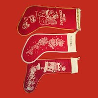 Vintage set of 3 Christmas stockings