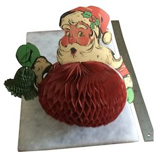 Vintage CHRISTMAS Honeycomb SANTA Tabletop Decoration