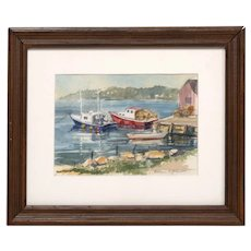 Watercolor by Eleanor Johnson, Boats on the Water