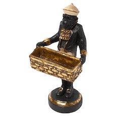 Vintage Business Card Holder: Chimp/Monkey Butler Statue with Basket