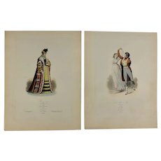 Pair of 19th Century French Fashion Prints, Hand Colored Engravings