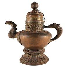19th Century Tibetan Parcel-Gilt Cooper Ewer/Teapot