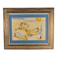 """Yellow Dories"", 1965, by Caro Eaton (American, 1915-1972), Original Watercolor / Mixed Media"