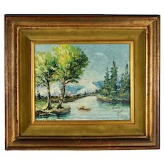 Mid-Century Impressionist River Scene, Oil on Canvas, Signed Illegibly