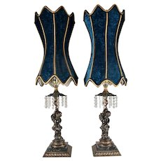 Pair of Mid-Century Hollywood Regency Style Table Lamps, Blue Velvet Shades