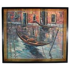 Venetian Gondola, Oil on Canvas Painting Signed Tulio, 20th Century